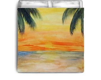 Golden Sunset Beach Comforters from my art