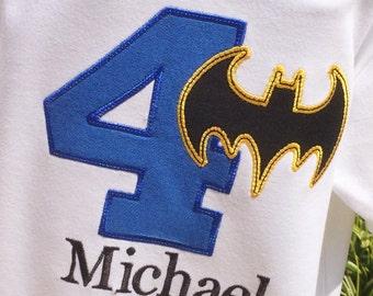 Boys Batman Themed Birthday Shirt