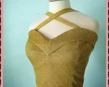 Swell Dame 1950s lurex bustier/ top with adjustable straps Made To Order in your measurements and in many colors