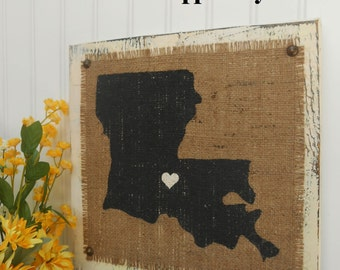 LOUISIANA, Burlap distressed wood sign, cottage look, rustic elegance 12x12, Louisiana BURLAP State Sign, Burlap Hanging Sign, Burlap