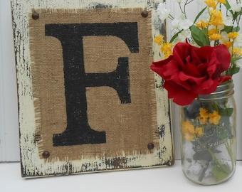 Burlap Monogram F. WEDDING gift, Hanging Destressed BURLAP Painted Monogram Letter, Frank, Rustic Burlap Monogram, Monogram Letter, Rustic