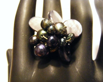 Charcoal, Silvery Grey Shell and Pearls Handwrapped Brass Adjustable Ring