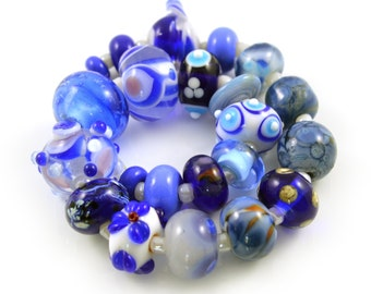 SALE - Blue and White Lampwork Orphan Beads - Handmade Lampwork Beads - Set of 22 Beads - Orphan, Bead Sale, Destash, Aqua - MadeByFire