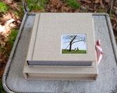 10x10 inch Custom Fabric Flush Mounted Fabric Library Style Bound Wedding Album