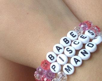 Zodiac Word Bead Bracelet