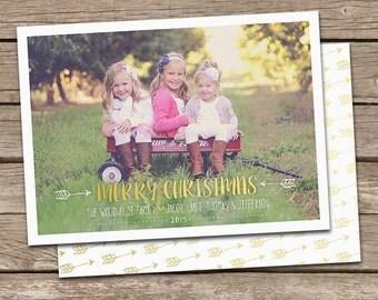 Photo Christmas Card : Gold Arrow Merry Christmas Custom Photo Holiday Card Printable