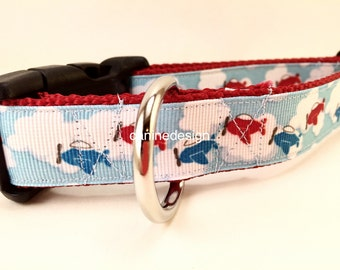 Dog Collar, Planes, 1 inch wide, adjustable, quick release, metal buckle, chain, martingale, hybrid, nylon