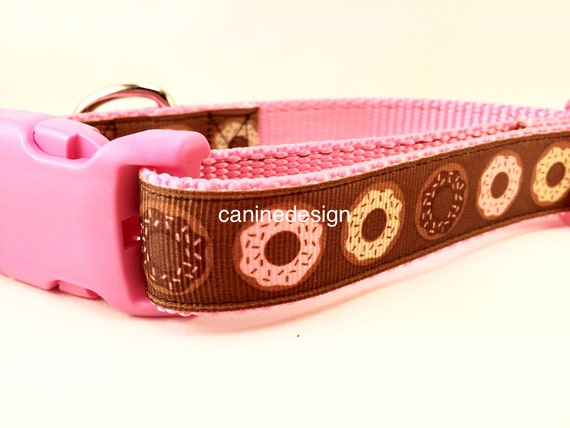Dog Collar, Donuts Dog Collar, 1 inch wide, adjustable, quick release, martingale, chain, metal buckle, nylon