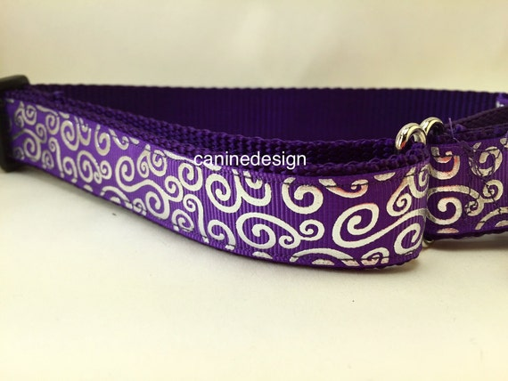 Purple Martingale   Inch Large Dog Collar With Metal Buckle