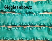 1.5 inch DOUBLE RUFFLE Satin Ribbon- AQUA 5 YaRDS Great for Hair bows Scrapbooking Crafts