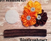 DIY Halloween Headband Kit- Makes 1 headband, Do it Yourself- Satin Flower Fall Thanksgiving Headband- Baby Headband Kit- DIY Supplies