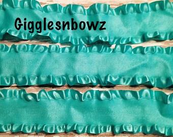 1.5 inch DOUBLE RUFFLE Satin Ribbon- AQUA 5 YaRDS Great for Hair bows Scrapbooking Crafts