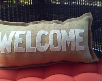 Burlap Welcome Pillow