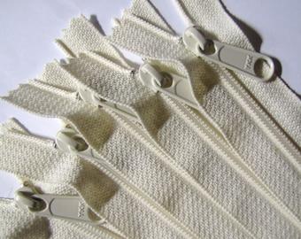 16 inch Handbag zippers with extra long pull, TEN pcs - nylon coil 4.5 - YKK vanilla color 121