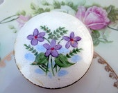 Vintage Compact Guilloché enamel Hand Painted Vilote flowers Brassy old patina