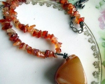 Red Carnelian Stone Polished Agate Pendant Sterling Silver Choker Necklace