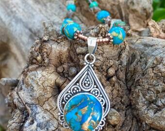 DESERT DREAM Necklace (Turquoise, Magnesite, Smoky Quartz)