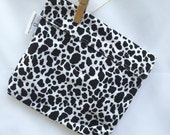 Reusable eco friendly washable Sandwich Bag - black and white cow print