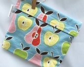 Reusable eco friendly washable Sandwich Bag - pears on blue