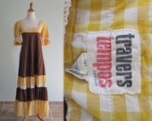 Vintage 1960s Dress - Pretty Cotton Hippie Gown in Brown and Yellow - 60s Travers Tempos Dress S