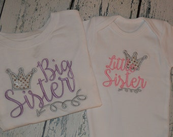 Sibling Shirt Set Big Sister Little Sister Crown and Arrow Sibling set