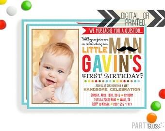 Little Man Mustache Invitation - Digital or Printed | Little Man Printables | Mustache Birthday Party Invitation | Mustache Invitation Photo