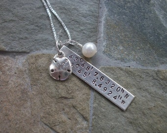 Latitude Longitude Coordinates Necklace In Sterling Silver - Sterling Sand Dollar - Freshwater Pearl - Hand Stamped