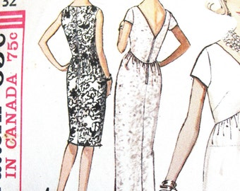 Simplicity 5322 Cocktail Dress OnePiece Evening Gown Back V-Neck Empire Vintage Sewing Pattern  Bust 32