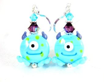 One Eye Monster Earrings, Halloween Earrings, Funny Earrings, Cyclops Earrings, Blue Green Purple Lampwork Earrings, Scary Halloween Jewelry