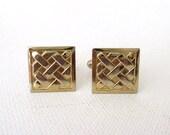 Vintage Cuff Links Gold Metal Cross Design