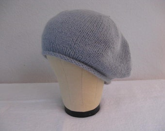 Angora and Wool Beret in Pale Blue Gray. Hand Knit Hat. Fall and Winter Accessories.