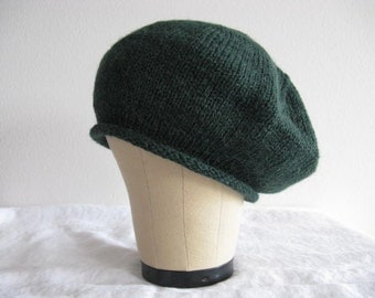 Forest Green Beret in Alpaca and Wool. Hand Knit Tam. Fashion Accessories for Adults.
