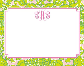 Pink and Green Lilly-like Stationery, Notecards, Invitation Set