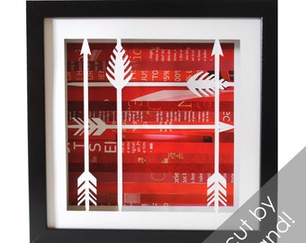 arrow shadowbox- made from recycled magazines, modern, pattern, southwest, native, navajo