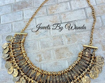 Bohemian Coin Gypsy Style Necklace - Gold - Clearance Sale, Reduced Price. Half Price Sale
