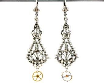 Steampunk Victorian Filigree and Watch Gear Wheels Earrings