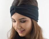 Black Headband Twist Cotton Jersey Turban Headband Head Wrap Yoga Running Headband Turband Womens Hair Accessory or Choose Your Color
