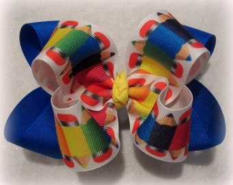 pencil hair bow, Pecils Pens, school Supply bow, Double layered bow, stacked bows, BTS hairbow, Back to school bow, primary colored bows