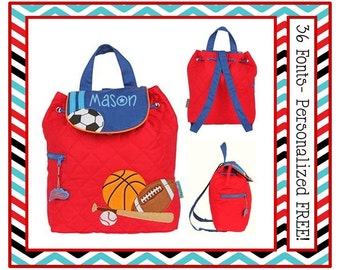 36 Fonts- Toddler SPORTS Red Personalized Quilted BACKPACK- Preschool, Diaper or Book Bag~ Football, Basketball, Baseball, Soccer