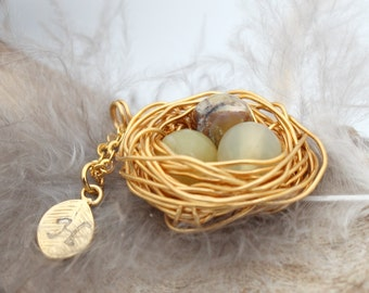 Personalized bird nest necklace with three yellow opal eggs and initial charm- gold plated woven wire- October birthstone- crystal healing