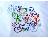 Ladies Embroidered Tee Shirt, I am a Child of God Embroidered T-Shirt, Ladies T-Shirt Size L