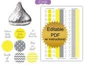 DIY editable printable stickers (No.k25) gender neutral baby shower favors polka dot chevron yellow gray Digital File