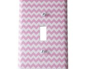 Decor Doodles™ #P3 Light Pink Chevron light switch cover outlet cover Bedroom decoration kitchen decor Custom light switch plate