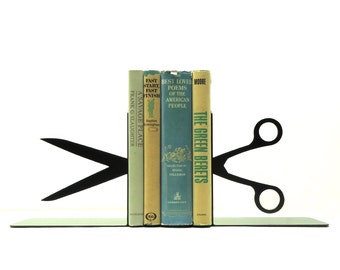 Split Scissors Metal Art Bookends - Free USA Shipping