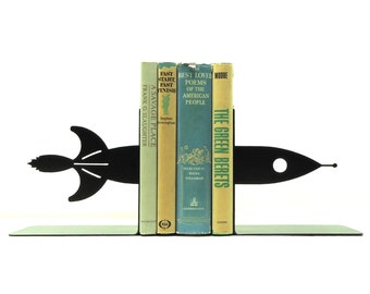 Rocketship Metal Art Bookends - Free USA Shipping