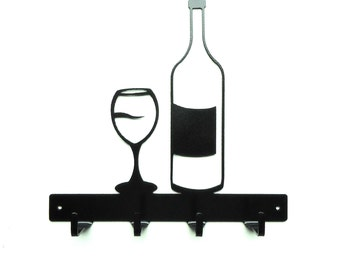 Wine Theme Metal Art Key Rack - Free USA Shipping