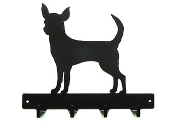 Chihuahua Dog Metal Art Key or Leash Rack - Free USA Shipping
