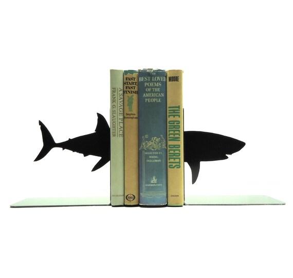 Shark Metal Art Bookends - Free USA Shipping