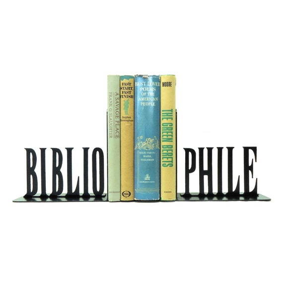 Bibliophile Metal Art Bookends - Free USA Shipping