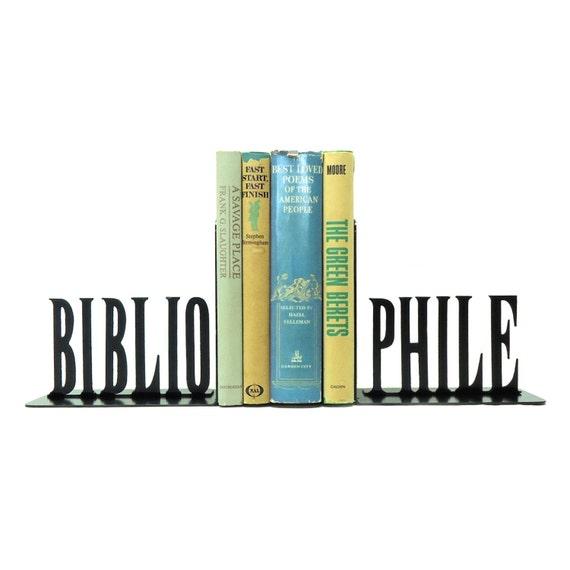 Bibliophile Metal Art Bookends - Free USA Shipping